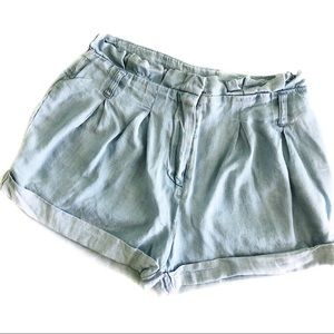 Abercrombie & Fitch Paper-bag Chambray Shorts